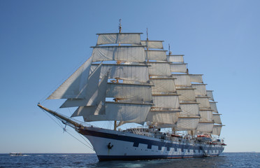 Royal Clipper at anchor off Ponza, Italy