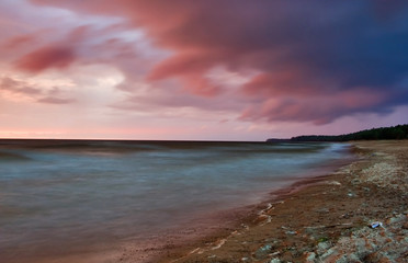 landscape with sea sunset