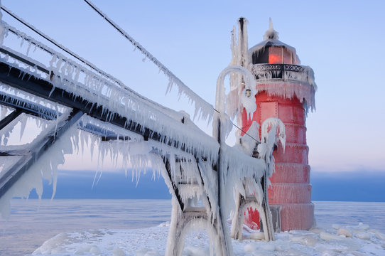 South Haven Lighthouse Winter