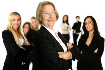businesswoman leading a diverse team of female colleagues