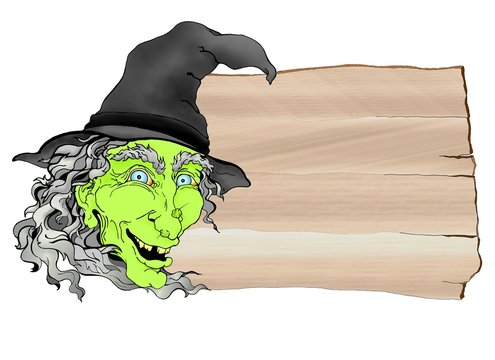 Creepy green Halloween witch banner