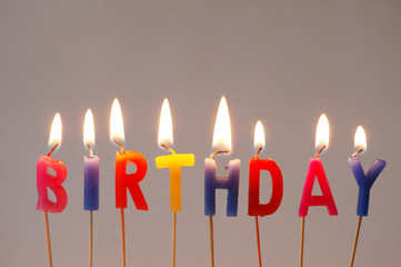"""Burning multi coloured candles with """"Birthday"""" word"""