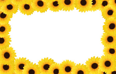 Frame with sunflowers and space for text