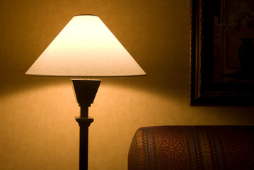 Lamp shade with sofa and painting in shadows