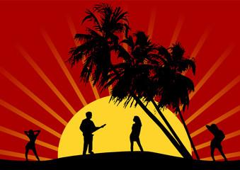 groupe sur coucher de soleil