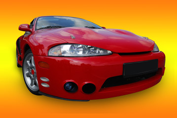 Red sport car (isolated with clipping path)