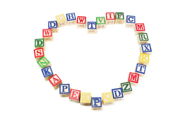 Alphabet Blocks in Heart Shape