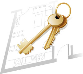 Gold keys, home plan, blueprint, realty. Vector illustration
