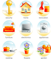 Icon set - home and garden related items. Aqua style. Vector