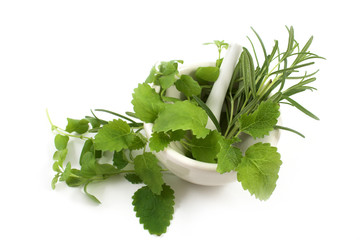 aromatic herbs in a mortar