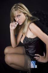 black angel with retro-style cigarette