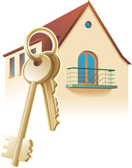 House keys, real estate, realty. Vector illustration