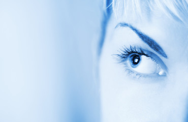 Human eye toned in blue
