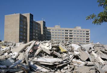 Hochhausabriss in Dresden