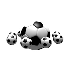 isolated soccer balls in the air - 3d illustration