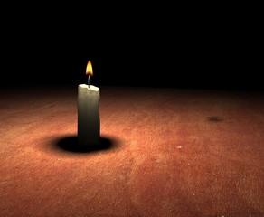soft-glowing candle light on table - 3d render