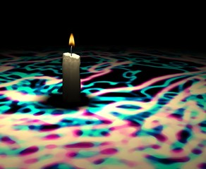 soft-glowing candle light on multicolor texture - 3d render