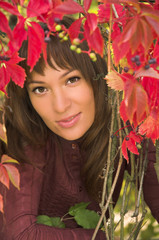 Portrait of the beautiful brunette in autumn leaves