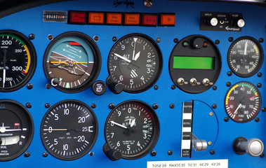 Instrument panel of a small airplane.
