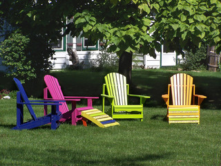 Lawn chairs in colour