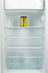 Gherkins' jar in fridge