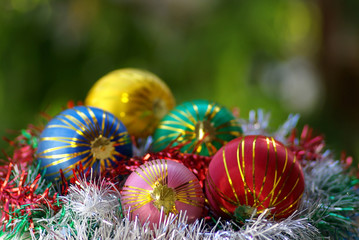 Colorful Christmas balls isolated for celebration .