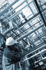 engineer inside oil refinery