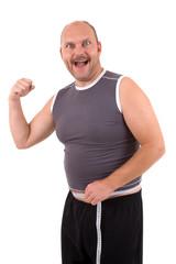 Happy overweight man