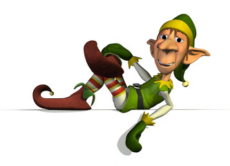 Santa's Elf on Sign Edge - 3D render