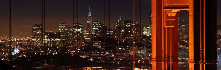 Golden Gate Bridge and San Francisco at night panorama