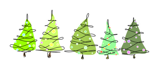 5 different xmas trees