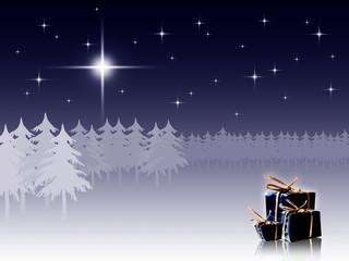 Winter night scene with presents