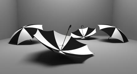 four black&white umbrellas