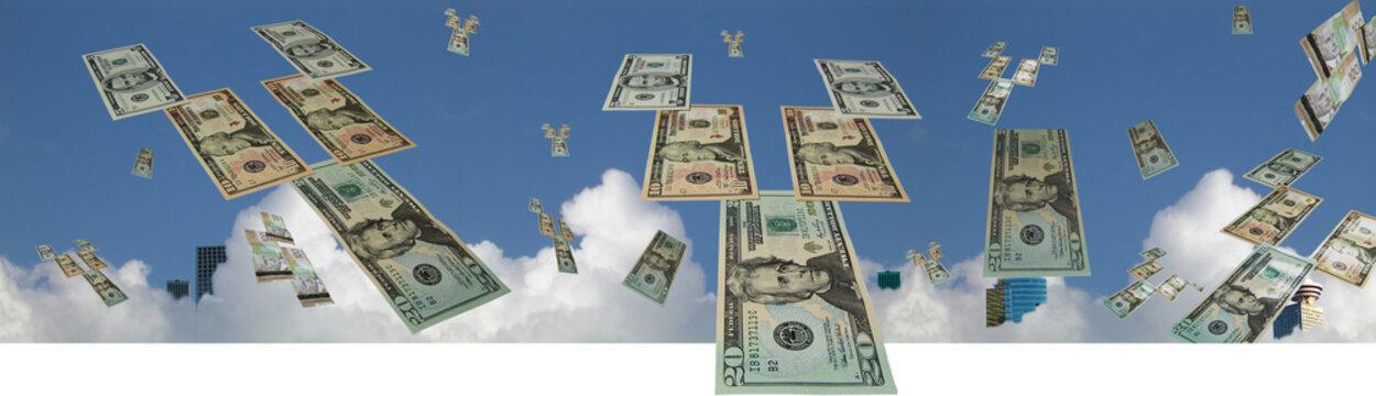 Flying money banner