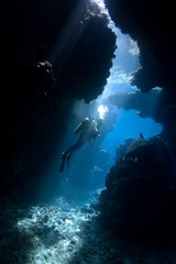 Printed roller blinds Diving Diver in a cave