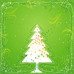 christmas card  with one tree , vector illustration