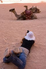 Taking pictures of camels in Petra