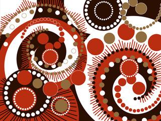 retro brown spiral dots pattern
