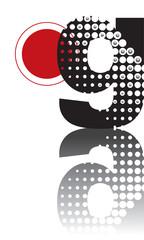 retro dots abstract zen alphabet design G