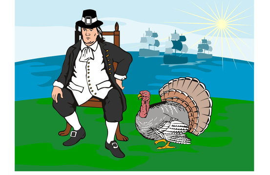 Pilgrim with turkey and ships