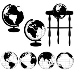 Globes Stands Silhouettes Set