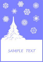 Surreal Christmas design with snowflakes and tree