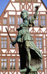 frankfurt am main, römerberg square, justice fountain