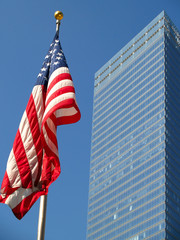 American flag and the skyscaper