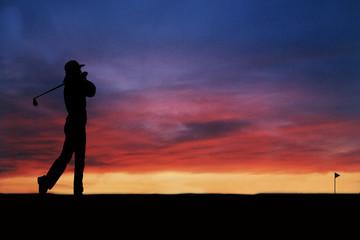 lady plays golf