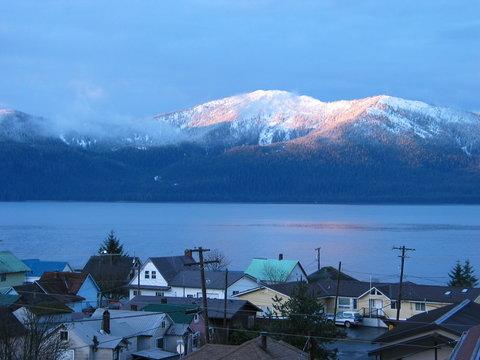 Sunrise Over Alaskan Village in Winter
