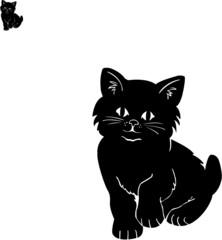 Illustration of a black kitten