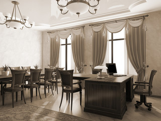 Office interior in monochrome 3D rendering