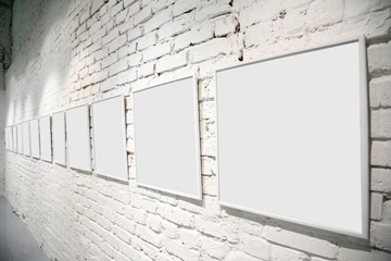 exhibition hall with blank frames