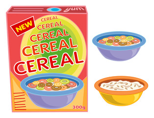 breakfast cereal box, bowl and porridge